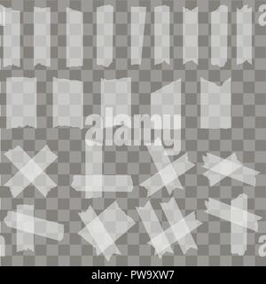 Set of sticky glue scotch tape pieces on transparent background. Vector - Stock Photo