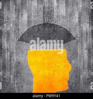 human head and umbrella  conceptual digital illustration - Stock Photo