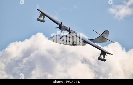 Consolidated PBY-5A Catalina flying at the IWM Duxford Battle of Britain Airshow on the 23 September 2018 - Stock Photo