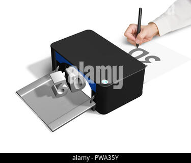 3D printer concept for hand 2D drawing white background - Stock Photo