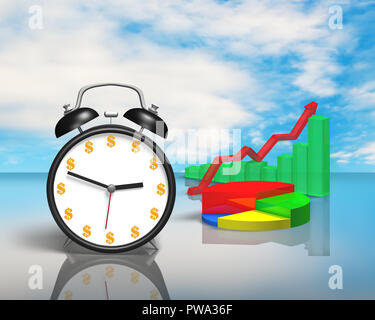 Alarm clock with money face and 3D chart on table - Stock Photo