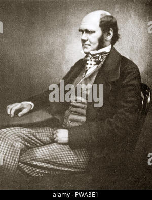 Charles Darwin, 1856 photographic studio portrait of the great naturalist and scientist, author of On the Origin of Species published in 1859 - Stock Photo