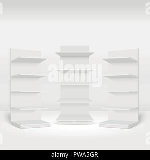 Blank empty showcases display with retail shelves in the room. Vector - Stock Photo