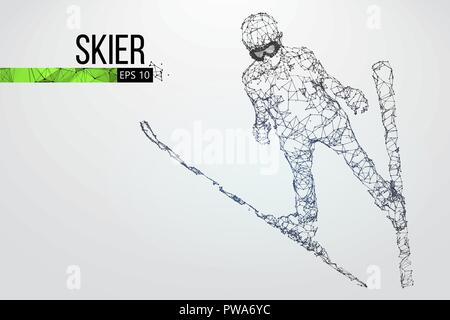 Silhouette of a skier jumping isolated. Dots, lines, triangles, text, color effects and background on a separate layers, color can be changed in one c - Stock Photo