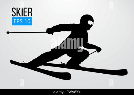 Silhouette of a skier jumping isolated. Background and text on a separate layer, color can be changed in one click. Vector illustration - Stock Photo