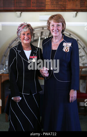 Hazel Latus, Chief Executive of a charity pictured receiving her British Empire Medal from Lord Lieutenant of West Sussex, Susan Pyper in Arundel. - Stock Photo