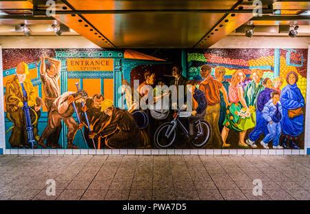 Mural Times Square – 42nd Street Subway Station Manhattan   New York, New York, USA - Stock Photo