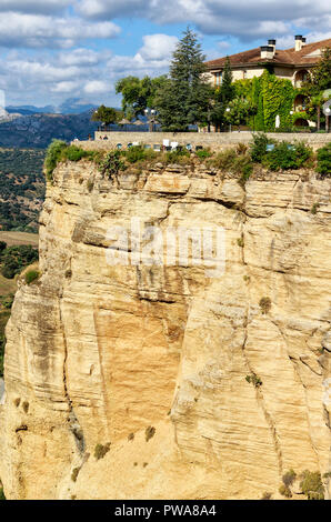 Ronda, near Malaga -View of the historic village on the very edge of a sheer drop over the canyon –Andalusia, Spain - Stock Photo
