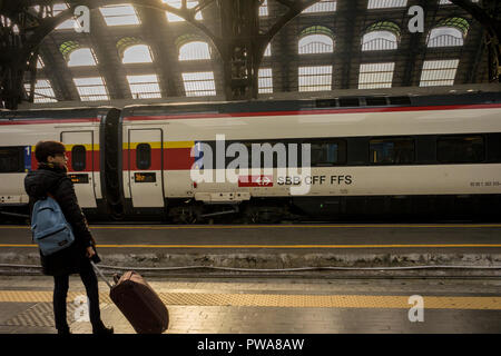 Milan Central Station - March 31: The Swiss train SBB CFF FFS at Milan central railway station on March 31, 2018 in Milan, Italy. The Milan railway st - Stock Photo