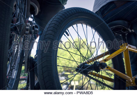 rear view of two boys with his bicycles. Detail on the wheels and chains of the bikes - Stock Photo
