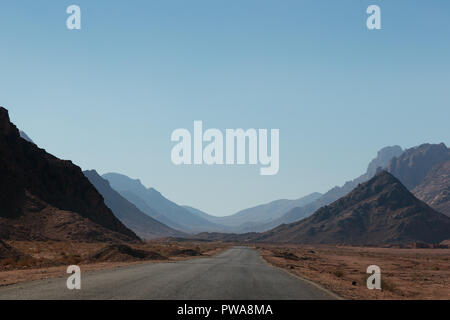 Road in South Sinai. Nuweiba. Egypt - Stock Photo
