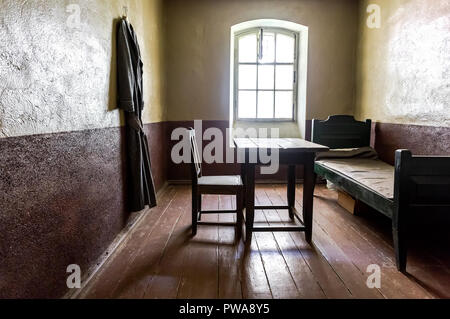 Shlisselburg, Russia - August 8, 2018: Single cell in the Old prison at the ancient Oreshek fortress. Russian Medieval defensive fortress and politica - Stock Photo