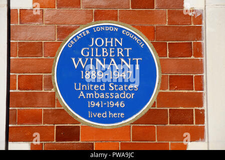 John Gilbert Winant blue plaque. US Ambassador to the UK, Aldford St, Mayfair, City of Westminster, London, England, UK. Wall. Greater London Council - Stock Photo