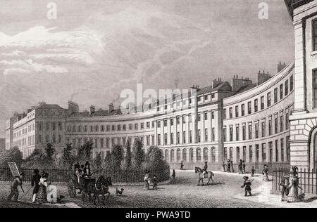 Ainslie Place,  Edinburgh, Scotland, 19th century, from Modern Athens by Th. H. Shepherd - Stock Photo