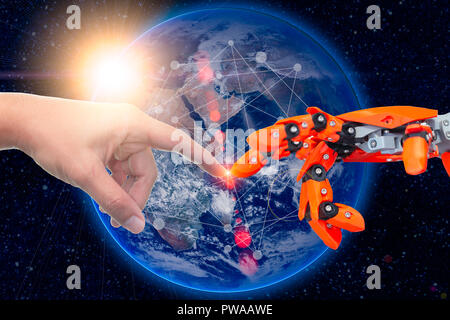 robotic engineering connected to people for future around the world concept. Elements of this image furnished by NASA. - Stock Photo