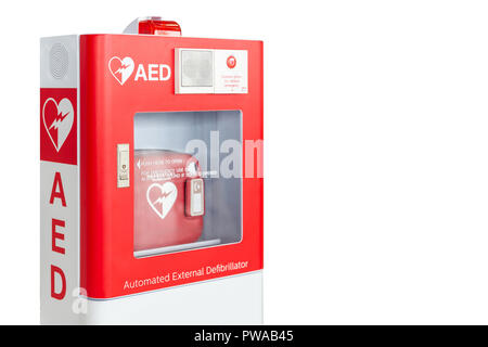 AED box or Automated External Defibrillator medical first aid device isolated on white background - Stock Photo