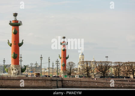 SAINT PETERSBURG, RUSSIA - APRIL 17, 2016: View on Vasilevsky Island and rostral columns - Stock Photo