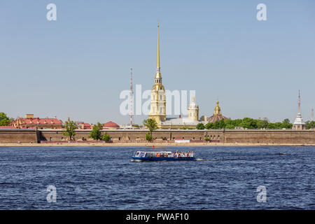 SAINT PETERSBURG, RUSSIA - APRIL 17, 2016: View of the Peter and Paul Fortress from Neva - Stock Photo
