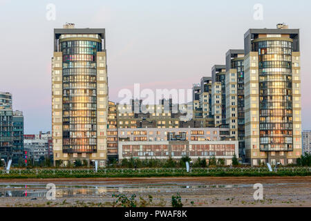 RUSSIA, SAINT PETERSBURG - September 24, 2017: Residential complex 'Marine Facade' on the shore of the Gulf of Finland - Stock Photo