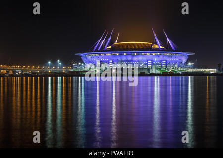 RUSSIA, SAINT PETERSBURG - September 24, 2017: The view on the stadium Zenit arena in the evening lights - Stock Photo