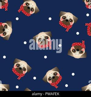 Pug Dog with Red Scarf on Navy Blue Background. Vector Illustration. - Stock Photo
