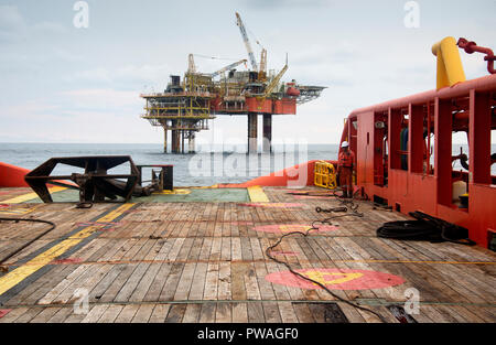 marine crew make preparation before anchor handling operation commencing - Stock Photo