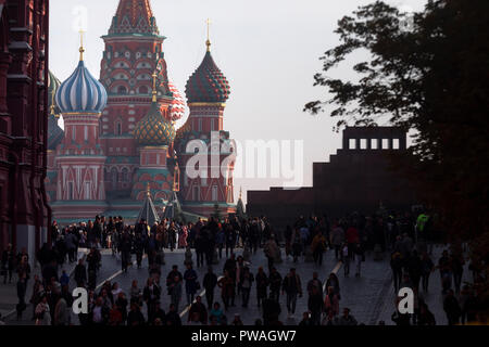 View of the Red Square, the mausoleum and St. Basil's Cathedral in Moscow city, Russia - Stock Photo