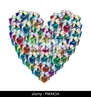 Conceptual image of heart shaped colorful gift boxes isolated on white - Stock Photo