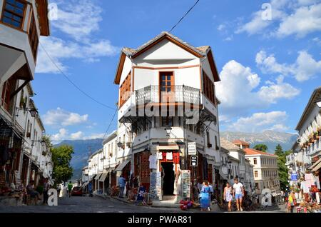 the historic old town in gjirokaster albania world heritage site of UNESCO - Stock Photo