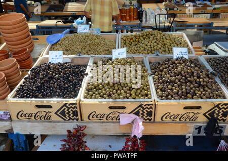 olives for sale in the pazari i ri market central tirana albania - Stock Photo