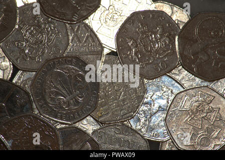 Commemorative British 50 pence coinscurrency - Stock Photo