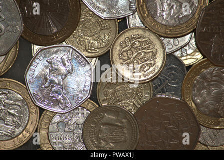 Mixed commemorative British coins - Stock Photo