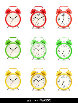 Set of nine vintage alarm clocks in green, red and yellow, with and without numbers, isolated on white background. 3D illustration - Stock Photo