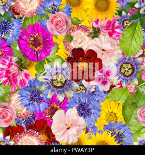 Seamless pattern with different spring flowers. Background with sunflowers, hibiscus, pink rose, calendula, passiflora, cornflowers and other bright p - Stock Photo