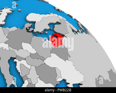 Baltic States on simple blue political 3D globe. 3D illustration. - Stock Photo