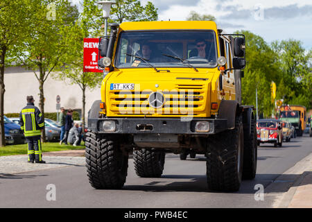 ALTENTREPTOW / GERMANY - MAY 1, 2018: Mercedes Benz Unimog drives on street at an oldtimer show - Stock Photo