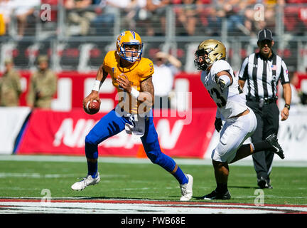 October 13, 2018:San Jose State Spartans quarterback Montel Aaron (7) in action during the NCAA football game between the San Jose State Spartans and Army Black Knights at Levi's Stadium in Santa Clara, CA. Army defeated San Jose 52-3. Damon Tarver/Cal Sport Media - Stock Photo