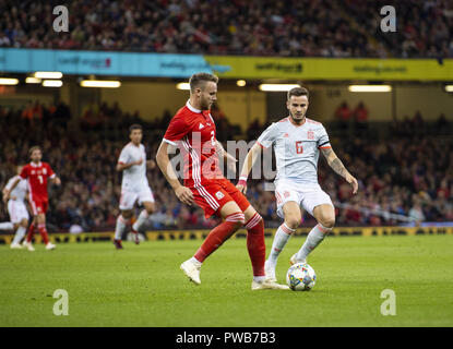 Cardiff, UK. 11th Oct, 2018. Chris Gunter (Wales) and Saul Niguez (Spain) in action during the Wales v Spain friendly match at the 'National Stadium.Final score Wales 1-4 Spain Credit: Gary Mitchell/SOPA Images/ZUMA Wire/Alamy Live News - Stock Photo