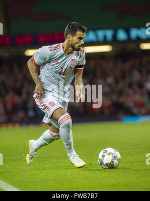 Cardiff, UK. 11th Oct, 2018. Suso (Spain) seen in action during the Wales v Spain friendly match at the 'National Stadium.Final score Wales 1-4 Spain Credit: Gary Mitchell/SOPA Images/ZUMA Wire/Alamy Live News - Stock Photo