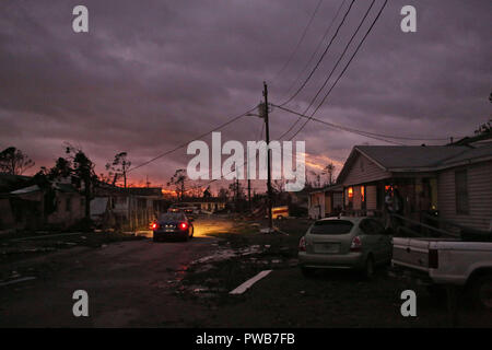 Panama City, FLORIDAY, USA. 10th Oct, 2018. A wreckage littered street after Hurricane Michael passed Panama City, Florida USA on October 10, 2018. Hurricane Michael made landfall in the Florida panhandle as a Category 4 hurricane. Credit: Dan Anderson/ZUMA Wire/Alamy Live News - Stock Photo