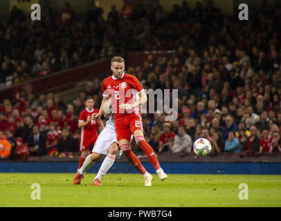 Cardiff, UK. 11th Oct, 2018. Chris Gunter (Wales) seen in action during the Wales v Spain friendly match at the 'National Stadium.Final score Wales 1-4 Spain Credit: Gary Mitchell/SOPA Images/ZUMA Wire/Alamy Live News - Stock Photo