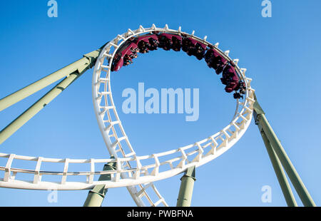 Soltau, Lower Saxony. 14th Oct, 2018. Visitors ride the roller coaster 'Big Loop' in Heide-Park. The roller coaster consists of two loops and a double corkscrew. Credit: Hauke-Christian Dittrich/dpa/Alamy Live News - Stock Photo