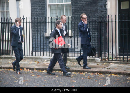 London,UK. 15th October 2018. James Brokenshire MP, Secretary of State for Housing, Communities and Local Government leaves 11 Downing Downing Street as rumours that some Cabinet ministers are unhappy with the Chequers plan proposed  by Theresa May Credit: amer ghazzal/Alamy Live News - Stock Photo