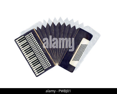 Watercolor accordion instrument and shaddow over white background - Stock Photo