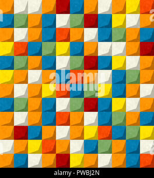 Watercolor mosaic background in colors, abstract art - Stock Photo