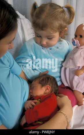 little girl holding her doll while watching mother breastfeed newborn baby - Stock Photo