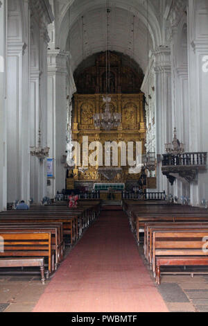 The interior of Se Cathedral of Old Goa (Goa Velha). Taken in India, August 2018 - Stock Photo