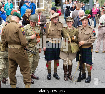 October 2018 men and women dressed as soldiers in World War two at an annual re-enactment in Pckering North Yorkshire - Stock Photo