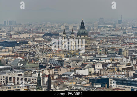 Budapest, panoramic view of the city with St Stephen Basilica, from  Gellért Hill. Hungary - Stock Photo