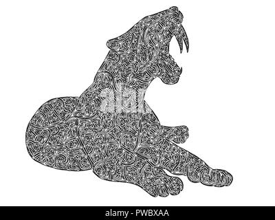 Illustration of a Saber-toothed tiger, black and white, digital drawing, maze lines - Stock Photo